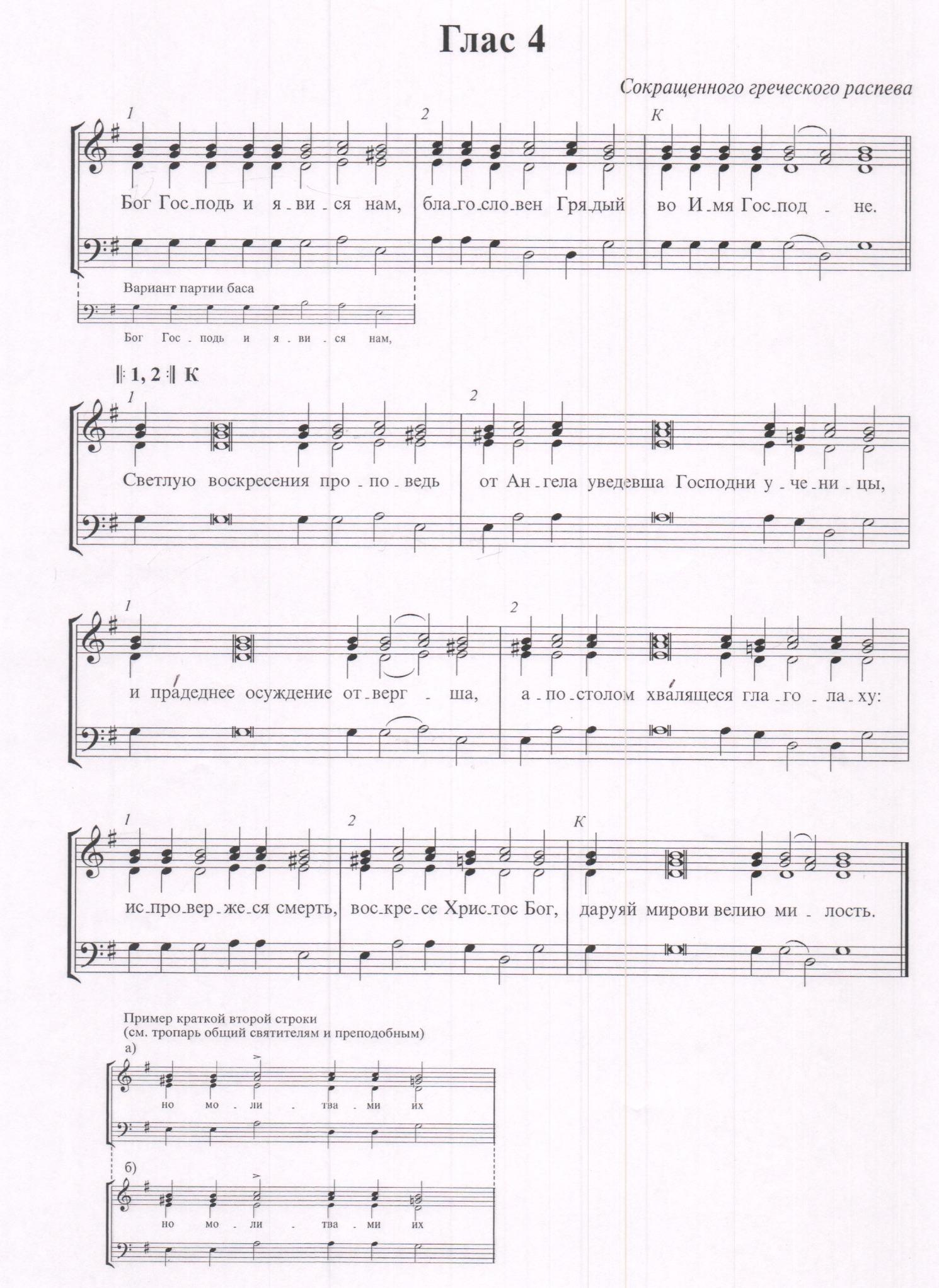 Тропарь воскресный 3 глас ноты